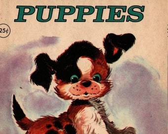 Puppies a Tiny Toddler Elf Book Board Book * 1950s * Vintage Kids Book