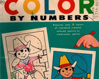 Color-by-Numbers Simple Pictures and Designs For Boys and Girls + 1959 + Vintage Coloring Book