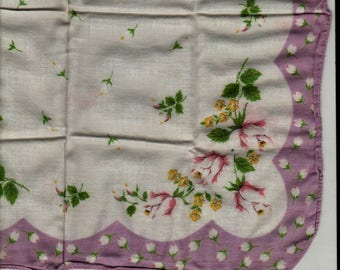 Pink and White Roses with Purple Border Handkerchief + Vintage Linens