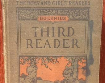 Bolenius Third Reader The Boys' and Girls' Readers + Emma Miller Bolenius + Mabel Betsy Hill + 1923 + Vintage Kids Book