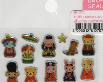 Drop Seal Animals in National Costume Sticker Set