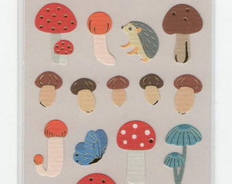 S & C * Mushroom Season * Hedgehog * Sticker Set * Japanese Stationery