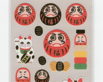 S & C * Daruma * Maneki Neko * Sticker Set * Japanese Stationery