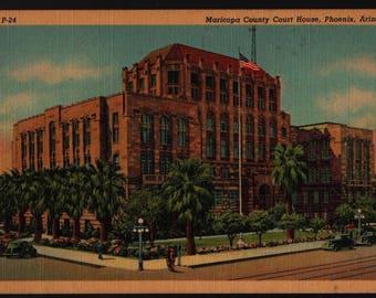 Maricopa County Courthouse + Phoenix, Arizona + Vintage Curteich Postcard