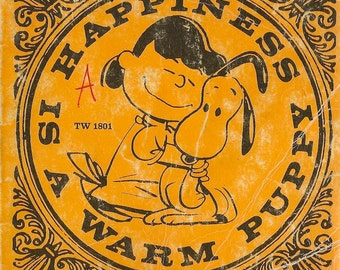 Happiness is a Warm Puppy Vintage Book + Charles M Schulz + 1970 + Vintage Kids Book