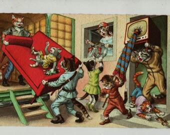 Mainzer Cats * Moving Day * 4958 * Eugen Hartung * Belgium * Unused * Vintage Postcard * Deckle Edge