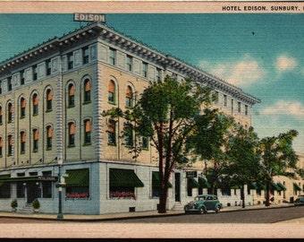 Hotel Edison - Sunbury, Pennsylvania - Vintage Postcard
