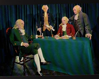 Declaration of Independence * Wax Figures * Vintage Plastichrome Postcard