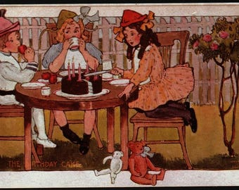 Birthday Party – Kids and Cake – Vintage Reproduction Postcard