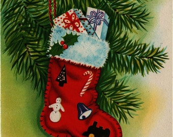 Christmas Card Stocking with Presents - Vintage Note Card