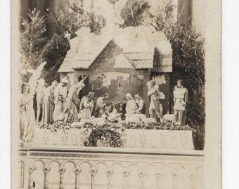Church Nativity * Black and White Photo * Christmas * Vintage Postcard