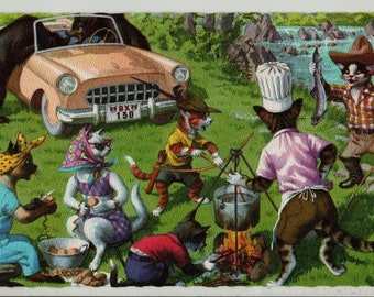 Mainzer Cats * Camping Cookout * 4922 * Eugen Hartung * Belgium * Unused * Vintage Postcard * Deckle Edge