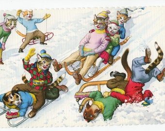 Mainzer Cats * Snow Day * Sled Crash * 4718 * Alfred Mainzer * Eugen Hartung * Unused * Vintage Postcard * Deckle Edge