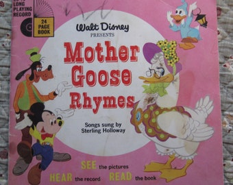 Walt Disney Presents Mother Goose Rhymes + Songs Sung by Sterling Holloway + Walt Disney Productions + 1952 + Vintage Kids Book