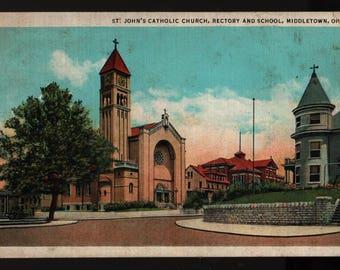St. John's Catholic Church, Rectory, and School * Middletown, Ohio * Vintage Curteich Postcard