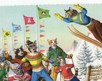 Mainzer Cats * Snow Day * Ski Jump * Winter Sports * 4721 * Alfred Mainzer * Eugen Hartung * Unused * Vintage Postcard * Deckle Edge