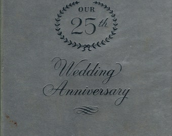 Our 25th Wedding Anniversary + Unused + Silver Cover + The C. R. Gibson Company + 1967 + Vintage Gift Book