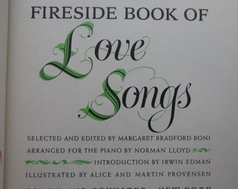 Fireside Book of Love Songs * Alice and Martin Provensen * Simon and Schuster * 1954 * Vintage Music Book