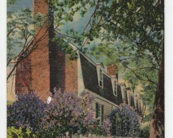 Travis House * Colonial Williamsburg * Virginia * Curteich * 1948 * Canceled Stamp * Vintage Postcard