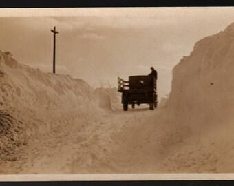 Winter Scene +  Truck Driving Through Snow + Vintage Photo Postcard