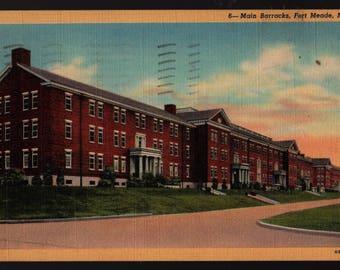 Main Barracks + Fort Meade, Maryland + 1951 + Vintage Curteich Postcard