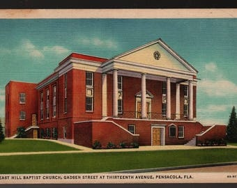 East Hill Baptist Church – Pensacola, Florida – Vintage Curteich Postcard