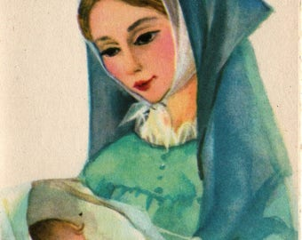 Virgin Mary with Baby Jesus * Vintage Christmas Card