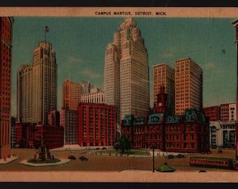 Campus Martius * Detroit, Michigan * Vintage Linen Postcard