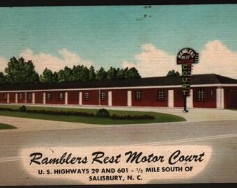 Ramblers Rest Motor Court – Salisbury, North Carolina – Vintage Hotel Postcard