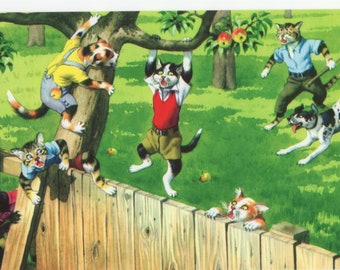 Mainzer Cats * Apple Orchard Thieves * 4867 * Eugen Hartung * Turkey * Unused * Vintage Postcard * Smooth Edge