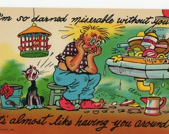 So Darned Miserable * Dirty Dishes * Humor * Curteich * Vintage Postcard