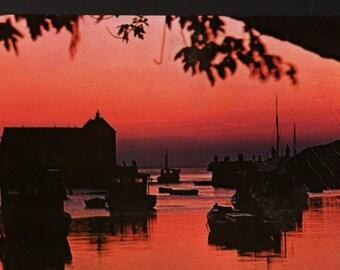 Rockport Harbor – Cape Ann, Massachusetts – Vintage Souvenir Postcard