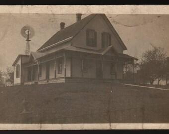 Big White Farm House + Sedalia, Indiana + Vintage Photo Postcard