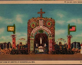 Front View of Grotto at Dickeyville, Wisconsin + Vintage Postcard
