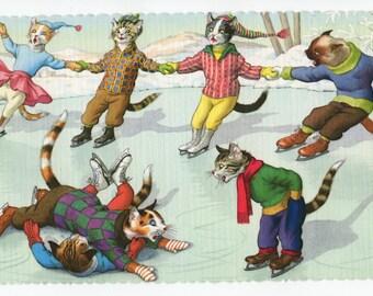 Mainzer Cats * Snow Day * Ice Skating Collision * 4719 * Alfred Mainzer * Eugen Hartung * Unused * Vintage Postcard * Deckle Edge
