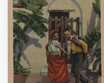 The Dance of the Sombrero * Cute Couple * Curteich * Vintage Postcard