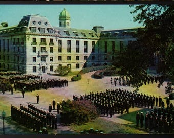 U.S. Naval Academy + Midshipmen Drum and Bugle Corps + Annapolis, Maryland + Vintage Lusterchrome Postcard