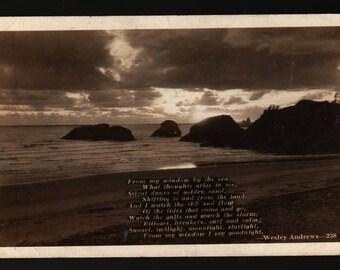 Wesley Andrews Poem with Beach Scene * 1940 * Vintage Photo Postcard