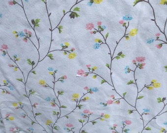 Tiny Pink, Yellow, and Blue Flowers on a Vine * Vintage Flat Sheet