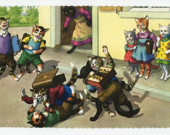 Mainzer Cats * After School Cat Fight in the Street * 4710 * Eugen Hartung * Alfred Mainzer * Unused * Vintage Postcard * Deckle Edge