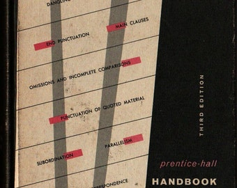 Prentice-Hall Handbook for Writers Third Edition + Leggett, Mead, and Charvat + 1960 + Vintage Book