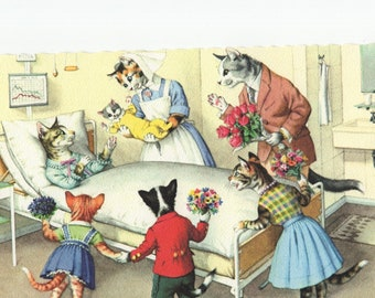 Mainzer Cats * Hospital Visit Maternity Ward * 4932 * Eugen Hartung * Unused * Vintage Postcard * Deckle Edge