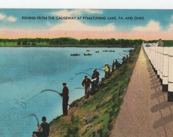 Fishing * Pymatuning Lake * Pennsylvania * Ohio * Vintage Postcard