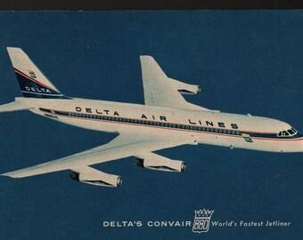 Delta's Convair 880 World's Fastest Jetliner + Vintage Airplane Photo Postcard
