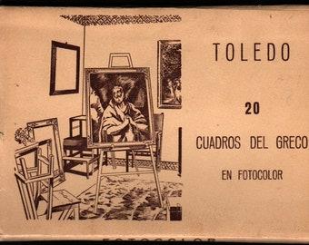 20 Cuadros Del Greco in Fotocolor + Vintage Souvenir Postcard Book