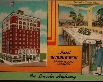 Hotel Yancey - Grand Island, Nebraska - Vintage Postcard