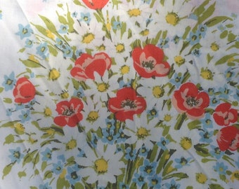 Daisy Bouquet Flat Twin Sheet with Blue Butterflies. + Morgan Jones + 1970s + Vintage Linens and Fabric