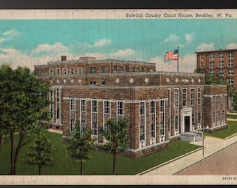 Raleigh County Courthouse + Beckley, West Virginia + Vintage Curteich Postcard