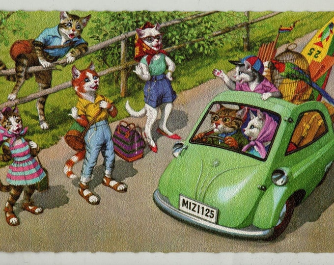 Featured listing image: Mainzer Cats * Hitchhiking * 4936 * Eugen Hartung * Belgium * Unused * Vintage Postcard * Deckle Edge