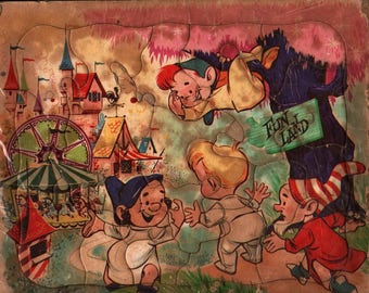 Funland Kids Puzzle + Vintage Tray Puzzle + Elves + Gnomes + Carnival
